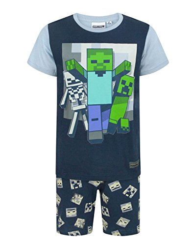 Minecraft Niños Short Navy Pijamas Set Undead Boy
