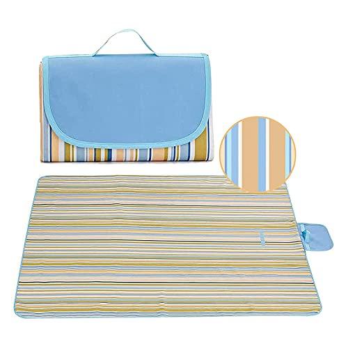 YUEWEIWEI Manta de pícnic, playa, parque, camping alfombra de viaje, primavera y verano, con paño inferior impermeable, plegable (150 x 200 cm, rayas azul cielo)
