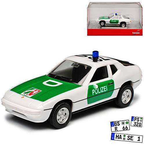 Porsche 924 Coupe Weiss Polizei 1976-1988 H0 1/87 Herpa Modell Auto mit individiuellem Wunschkennzeichen