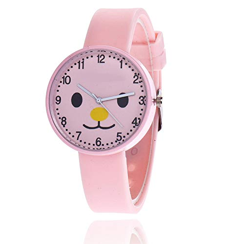 SFBBBO Reloj niño Reloj para niños Reloj Estilo gelatina Reloj para niños Chica Piggy Dibujos Animados Lindo Estudiante Pequeño Reloj Fresco Rosa
