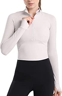 MISSJOY Women's Workout Jackets Half Zip Running Track Jacket Long Sleeve Athletic Pullover with Thumb Holes