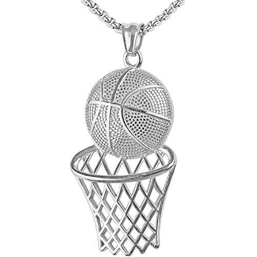MENCNKI Männer Hip Hop Halskette Basketball Hurdle hängende Halskette mit Kette für Herren und Damen Schmuck Geschenke Valentinstag,Silber