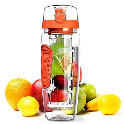 GHJGHJ 950 ml Capacidad de Gran Capacidad Infusor de Frutas Jugo Shaker Bottle Tritan Deportes Botella de Agua Portátil Gimnasio Al Aire Libre Camping Botellas BPA Libre (Color : Orange)