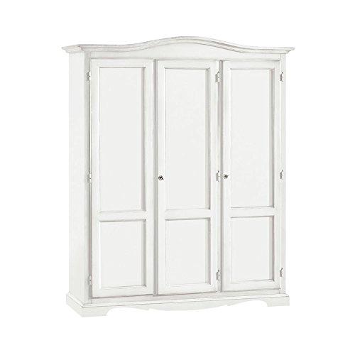 InHouse srls Armadio con 3 Ante, Arte povera, in Legno massello e MDF con rifinitura in Bianco Opaco - Mis. 158 x 56 x 197