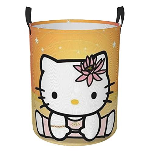 Canasta de lavandería de dibujos animados anime lindo Hello Kitty niños Niñas impermeable para almacenamiento organizador de habitación de los niños Organizador de casa baño grande circular