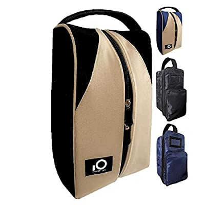 FINGER TEN Golf Shoe Bag for Men Women, Deluxe Canvas Zipper Tote Large Travel Organizer, Basketball Soccer Gym Pack Can Hold Almost Sizes of Shoes (Black/Khaki)