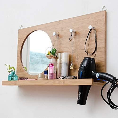 FYYONG Nordic Espejo de baño con Estante Espejo de baño Espejo de baño montado en la Pared del Cuarto de baño Espejo de Hombres y de Mujeres Que cuelgan del Espejo 70x40cm