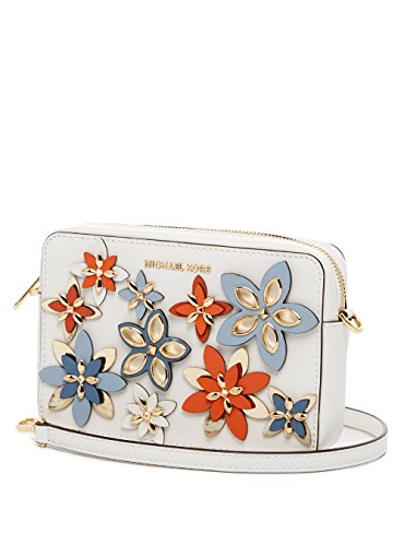 """Tricolor smooth vegetable-tanned leather; lining: polyester Interior features 1 slip pocket and 3 card slots Exterior features gold-tone hardware and flower detail 21-1/2"""" to 25""""L removable, adjustable strap. Zip closure 7-1/2""""W x 5-1/4""""H x 1-3/4""""D"""