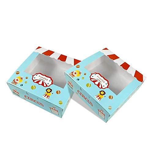 15 Piezas Cajas de Cupcakes,Cajas de panadería para galletas Cajas para Pasteles con Ventana de Transparente Muffin Simple perfecta para pasteles,galletas,pasteles pequeños,tartas,cupcakes(CIRCUS)