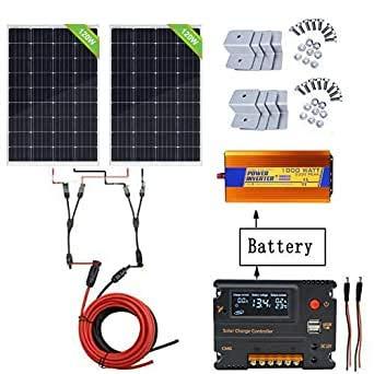 ECO-WORTHY Kit de panel solar de 240 W para panel de 1000 W 220 V puro inversor de sino +...