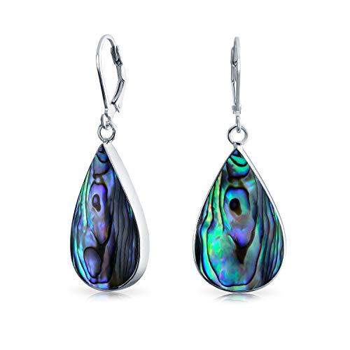 Regenbogen Abalone Muschel Natürliche Birnenförmig Tropfen Tropfen Baumbild Leverback Ohrringe Für Frauen Für Teen 925 Sterling Silber