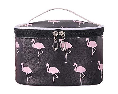 Tragbare Flamingo Kosmetiktasche für Mädchen, Frauen Reise Schminktasche Große Make-Up Taschen Wasserdicht Kulturbeutel mit Make-up Pinselhalter Make Up Etui mit Griff,Schwarz