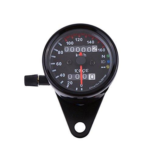 VGEBY Motorrad-Odometer LED-Digital-Tachometer-Messgerät-Hintergrundbeleuchtung-Signallicht-Tachometer-Geschwindigkeits-Lehre - 2 Farben ( Farbe : Schwarz )