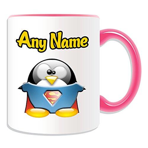 Taza de regalo personalizable, diseo de personajes de pelcula de pingino, opciones de color, cualquier nombre/mensaje en tu nico, disfraz de superhroe de Kal-El Clark Kent