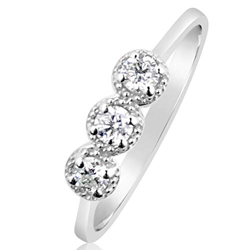 MILLE AMORI ∞ Anillo Mujer Compromiso Oro y Diamantes - Oro Blanco 9 Kt 375 ∞ Diamantes 0.22 Kt