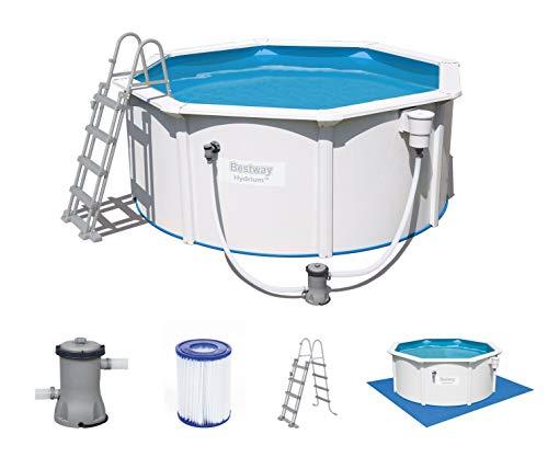 Bestway Hydrium Pool Set Piscina de Pared de Acero con Bomba de Filtro, Blanco, 300 x 120 cm