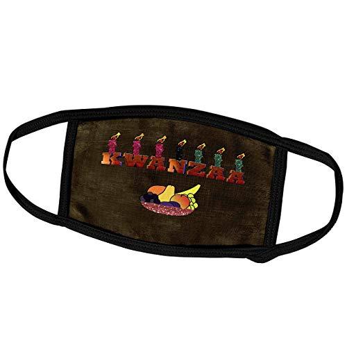 Promini Monatsmaske – Beverly Turner Kwanzaa – Sieben Kerzen auf Kwanzaa, Schale mit Obst – Staubmaske Outdoor-Schutzmaske