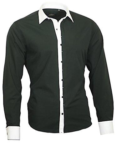 Louis Binder de Luxe Herren Hemd Shirt weißer Kragen und Manschetten modern fit 809 Langarm schwarz M 40