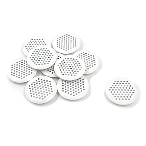 Geesatis Round Soffit Vent, 2 inch / 53 mm Mounting Diameter Stainless Steel Mesh Hole Louver for Kitchen, Cabinet, Wardrobe, Shoe Cabinet and Bathroom, White, 10 Pcs