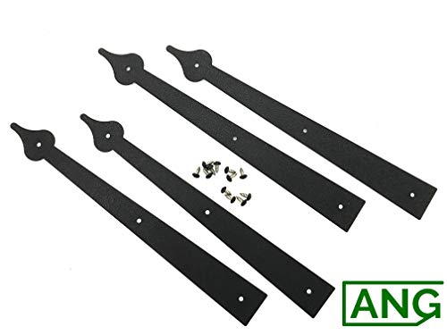 Set of 4 Decorative Carriage House Garage Door Hinges-Spear End by Carriage Hardware
