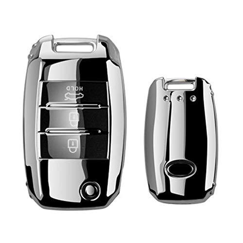 zc Hermosa Cubierta Completa Nueva TPU Suave Case DE Coche CASHA DE Caja Adecuado para KIA Rio QL SPORTEGE CEED CERATO Sorento K2 K3 K4 K5 Auto Accesorios (Color Name : C Silver)