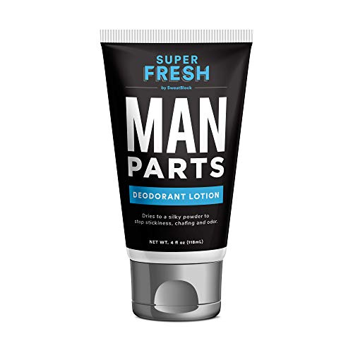 Super Fresh Ball Deodorant for Men by SweatBlock | Prevent Sweaty Man Parts & Odor (Balls, Butt and Groin) | Talc-Free, Paraben-Free, Aluminum-Free | Lotion-to-Powder, No Mess, Quick-Dry Formula | 4 fl oz Tube