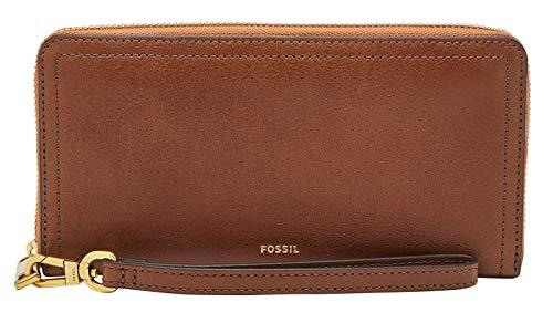 Fossil Damen Geldbörse Portemonnaies RFID Logan Zip Leder Braun SL7831-200