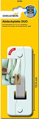 Schellenberg 53703 Softline - Placca esterna copri avvolgitore della cinghia delle tapparelle con foro, altezza 13,5 cm, colore: Bianco