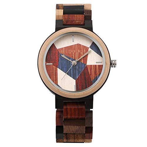 LOPIXUO Geometria Irregolare Unica Modello di Giunzione Orologio in Legno Orologio da Uomo Orologio da Polso retrò in Legno Regolabile in Colori Misti, Cerchio in Legno di bambù