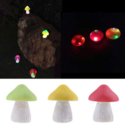 P Prettyia 3Pcs / Set Mushroom Solar Garden Lights Luces de Navidad para Path Yard NUEVO