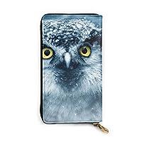 Cute Ice Owl 長財布 メンズ レディース 本革 マネークリップ 人気 多機能 大容量 本革製 12カード入れ
