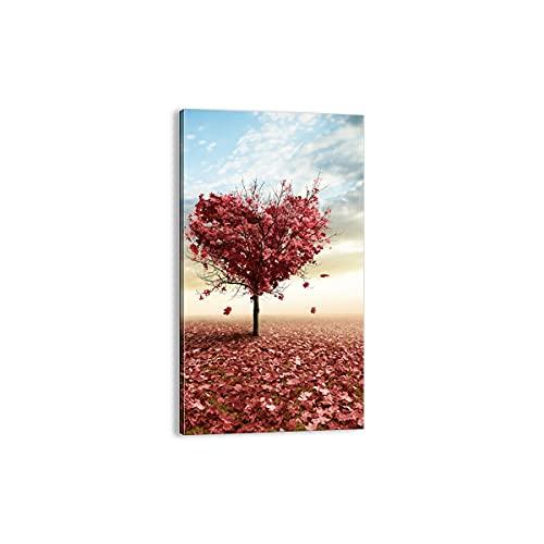 Quadro su tela - Elemento unico - Astrazione autunno albero foglia - 45x80cm - Pronto da appendere - Home Decor - Stampe su Tela - Quadri Moderni - completamente incorniciato - PA45x80-2609