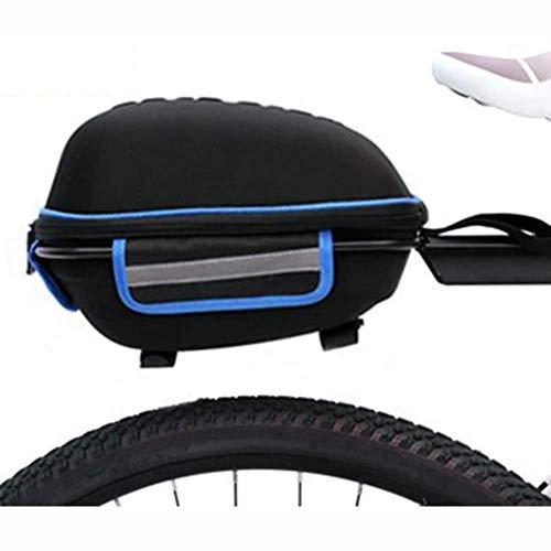 SHIZPHH Quick-Release Commuter Bike Trunk Bag EVA Hard Shell Bicycle Tail Bag Riding Equipment Rear Shelf Bag (Color : Blue)