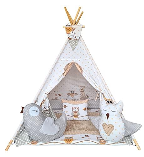 Izabell Tipi - Tienda de campaña para niños, para interior y exterior, juguete para niños, diseño indio con ventana y accesorios