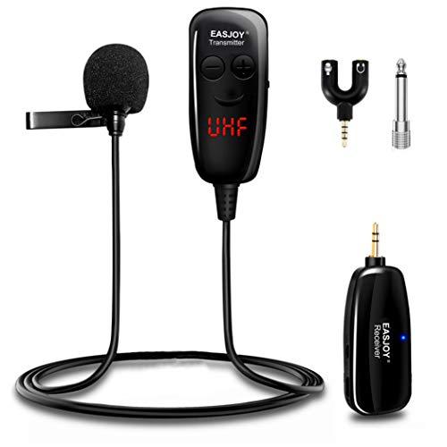 Sistema di microfono lavalier senza fili, microfono senza fili UHF a clip con ricevitore da 3,5 mm per PC, laptop, iPhone, fotocamera DSLR, altoparlanti PA, YouTube, podcast, registrazione video