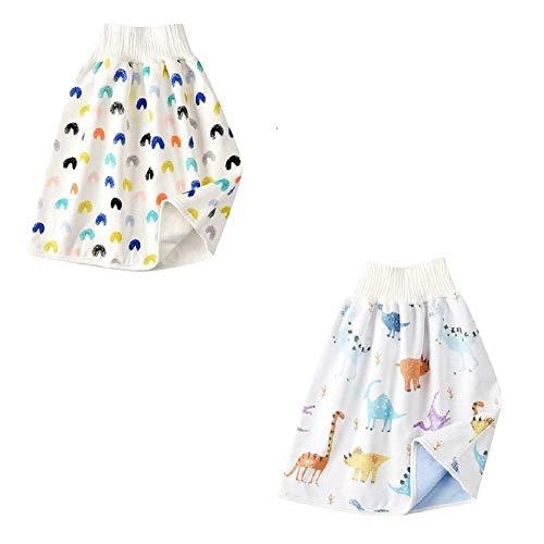 2PCS Baby Windelrock, 2 in 1 Bequeme Kinderwindelrock Shorts wasserdichte und saugfähige Shorts, Anti Bettnässen Waschbarer Baumwollbambusfaser Rock für 0-8 Jahre Baby Kleinkind Kinder