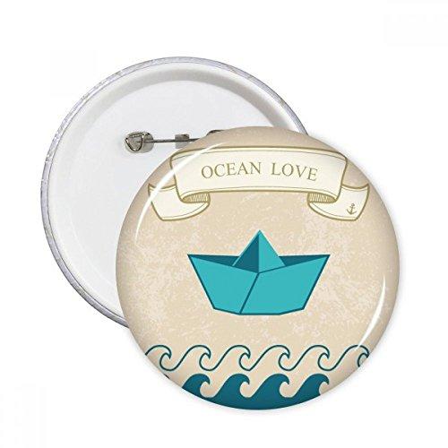 DIYthinker Papier falten Boot Ozean-Liebe Meer Segeln Runde Stifte Abzeichen-Knopf Kleidung Dekoration 5Pcs Geschenk Mehrfarbig M