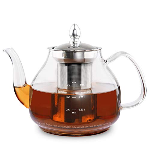 COSORI Glass Teapot Scale Line amp Removable Stainless Steel Infuser Stovetop Safe Gooseneck Kettle for Blooming and Loose Leaf Tea Brewer BPA Free Durable Borosilicate 1000mL
