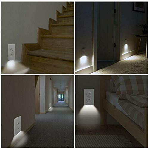5Pcs Durable Convenient Outlet Cover - Duplex Wall Plate Led Night Light Cover Ambient Light Sensor for Hallway Bedroom (Round Hole)