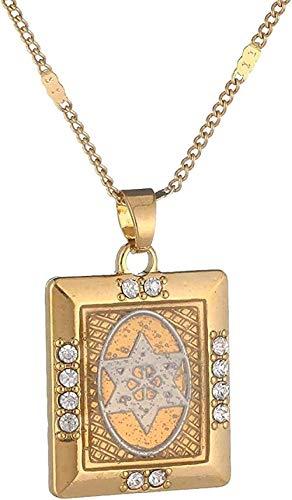 FACAIBA Collar de Metal con Colgante de Estrella de David para Mujer, hexagrama, Cadena de tantrismo, Regalo de joyería