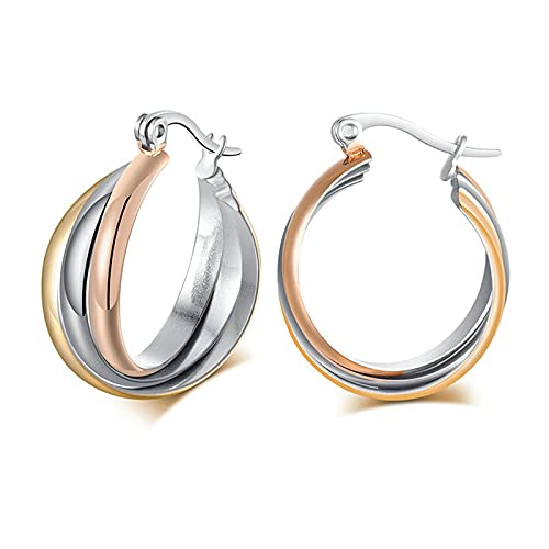 Pendientes para mujer, oro pendientes de titanio, tres anillos de cruz, para mujer, plata, pendientes colgantes de oro, Titanio,