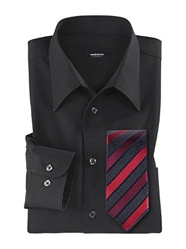 Walbusch Herren Hemd Bügelfrei Kragen ohne Knopf einfarbig Schwarz 47/48 - Langarm