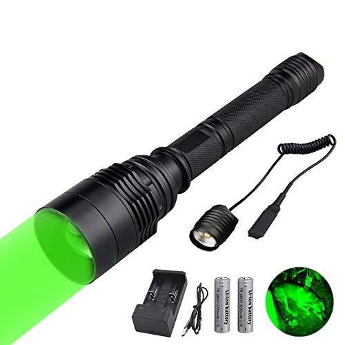 Linterna de Caza Verde, WESLITE Linterna Verde para Vision Nocturna Caza Foco ajustable Linternas Caza Largo Alcance con Interruptor de Presión Remoto Baterías Recargables y Tubo de Extensión