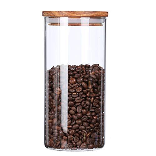 KKC Vorratsdose Glas Luftdicht, Glasbehälter mit Deckel,Kaffeedose Luftdicht Glas 500g, Vorratsdose für Kaffee,Kaffeebohnen,Müsli,Lebensmittel Aufbewahrung,Vorratsglas 1450 ML