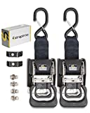 STRAPINNO 2pcs Stainless Steel Retractable Ratchet Straps Bundle (1 7/8-in x 4-ft Each), Bolt-On Tie-Downs - 2 Extra Mounting brackets & Bolt Set, Safety latch S-Hook, Breaking Strength 1,650LBS/750KG