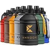 Khroom® Botella de Agua XXL de 2.2 litros de Acero Inoxidable | Adecuado Ácido Carbónico | Libre de BPA | Botella de Fitness de 2L para deportes, gimnasia y ocio (Negro)