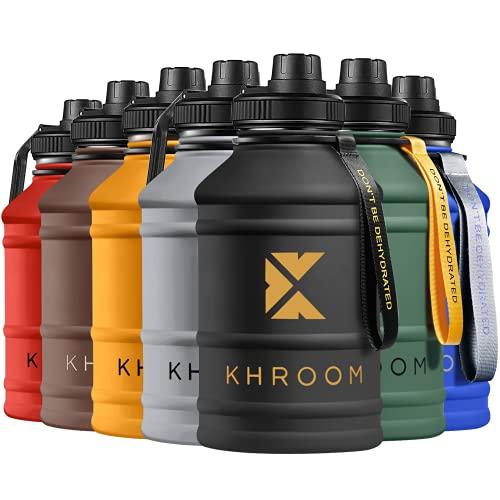 Khroom Borraccia in acciaio inossidabile Sport 2.2 L - adatta per anidride carbonica e infrangibile | XXL borraccia in acciaio inossidabile per fitness e tempo libero | BPA e DEHP Gratis (Nero)