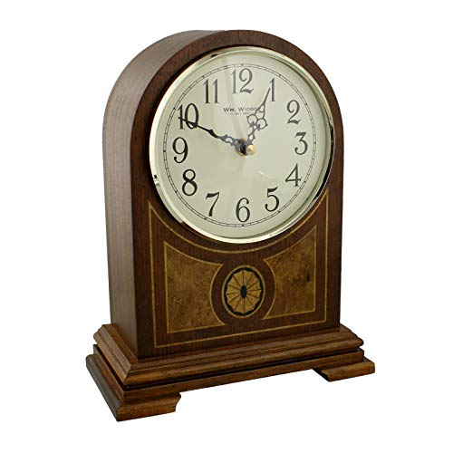 Wooden Arched Inlaid Case Quartz Mantel Clock With Arabic Numbers and Westminster Chime by WBL