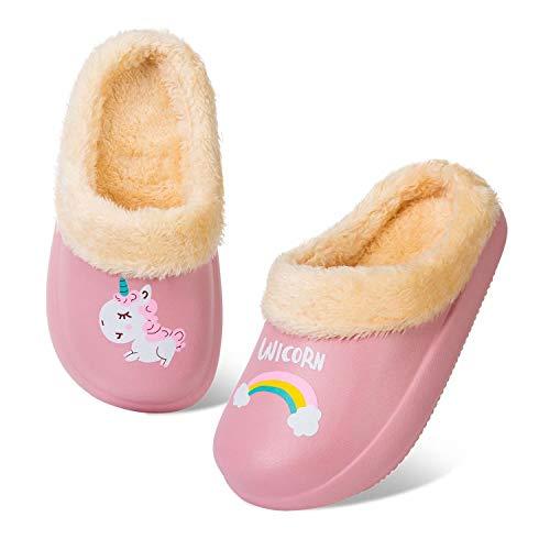 HMIYA Pantofola Invernali per Bambini Ragazzi Ragazze Zoccoli Calde Foderata Ciabatte Slipper da Ultraleggeri e Antiscivolo per Interni ed Esterni (Rosa Unicorno,24/25)