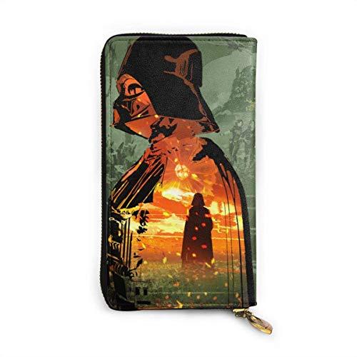 AOOEDM Darth Vader Damen Leder Geldbörse Soft Fashion Echtes Leder Reißverschluss um tragbare Geldbörse